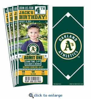 (12) Custom Oakland Athletics Birthday Party Ticket Invitations With Optional Photo