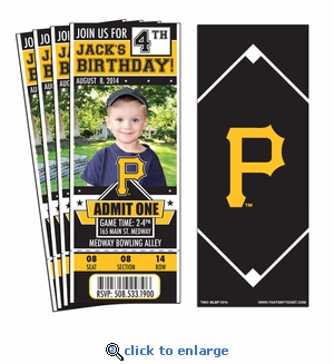 (12) Custom Pittsburgh Pirates Birthday Party Ticket Invitations With Optional Photo