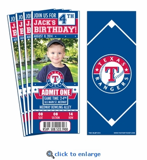 (12) Custom Texas Rangers Birthday Party Ticket Invitations With Optional Photo