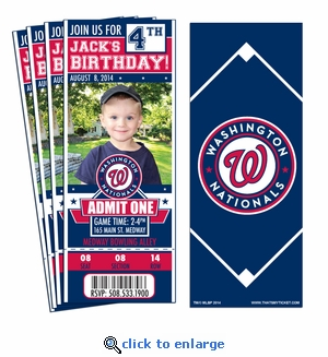 (12) Custom Washington Nationals Birthday Party Ticket Invitations With Optional Photo