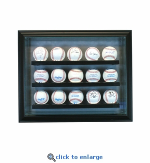 15 Baseball Cabinet Style Display Case - Black
