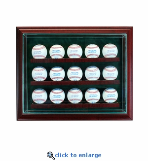 15 Baseball Cabinet Style Display Case - Cherry