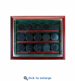 15 Hockey Puck Cabinet Style Display Case - Cherry