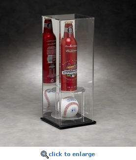 16 oz Bottle and Baseball Rectangular Acrylic Display Case with Mirrored Back