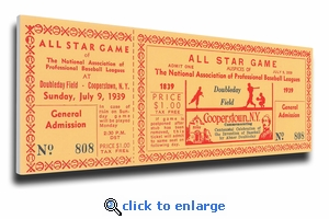 1939 Baseball Hall Of Fame All-Star Game Canvas Mega Ticket - Cooperstown