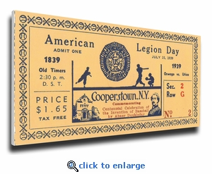 1939 Baseball Hall Of Fame American Legion Day Canvas Mega Ticket - Cooperstown