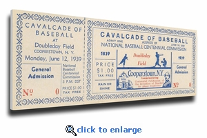 1939 Baseball Hall Of Fame Grand Opening Canvas Mega Ticket - Cooperstown