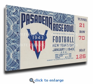 1943 Rose Bowl Canvas Mega Ticket - Georgia Bulldogs