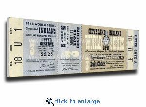 1948 World Series Canvas Mega Ticket - Cleveland Indians