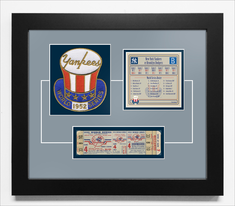1952 World Series Replica Ticket & Patch Frame - New York Yankees