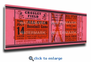 1953 MLB All-Star Game Canvas Mega Ticket, Reds Host - Crosley Field (small)