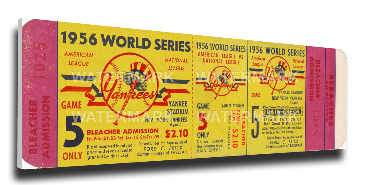 1956 World Series Canvas Mega Ticket - New York Yankees