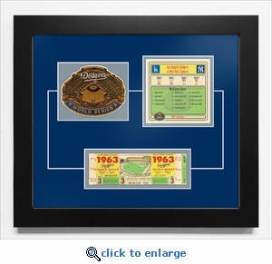 1963 World Series Replica Ticket & Patch Frame - Los Angeles Dodgers