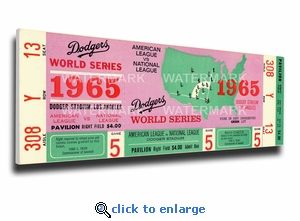 1965 World Series Canvas Mega Ticket - Los Angeles Dodgers