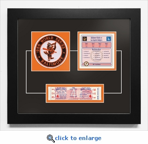 1966 World Series Replica Ticket & Patch Frame - Baltimore Orioles