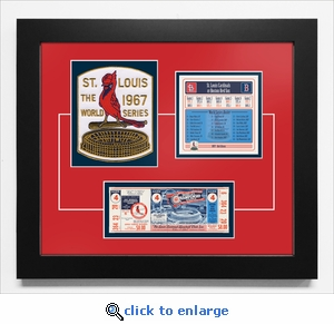 1967 World Series Replica Ticket & Patch Frame - St Louis Cardinals