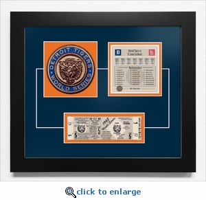 1968 World Series Replica Ticket & Patch Frame - Detroit Tigers