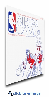 1970 NBA All-Star Game Program Cover on Canvas, 76ers Host, MVP Reed, Knicks