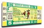 1972 World Series Canvas Mega Ticket - Oakland Athletics