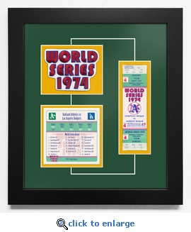 1974 World Series Replica Ticket & Patch Frame - Oakland Athletics