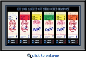 1977 World Series Tickets to History Framed Print - New York Yankees
