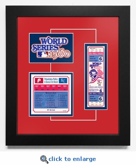 1980 World Series Replica Ticket & Patch Frame - Philadelphia Phillies