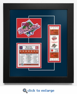 1987 World Series Replica Ticket & Patch Frame - Minnesota Twins