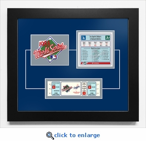 1988 World Series Replica Ticket & Patch Frame - Los Angeles Dodgers