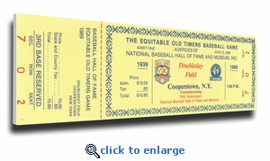 1989 Baseball Hall Of Fame Old Timers Game Canvas Mega Ticket - Cooperstown