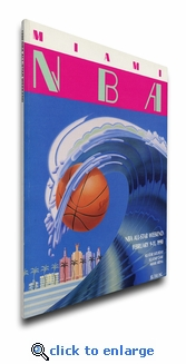 1990 NBA All-Star Game Program Cover on Canvas, Heat Host, MVP Magic, Lakers