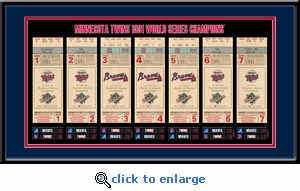 1991 World Series Tickets to History Framed Print - Minnesota Twins