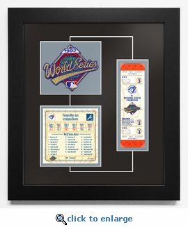1992 World Series Replica Ticket & Patch Frame - Toronto Blue Jays