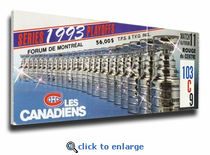 1993 NHL Stanley Cup Finals Canvas Mega Ticket - Montreal Canadiens