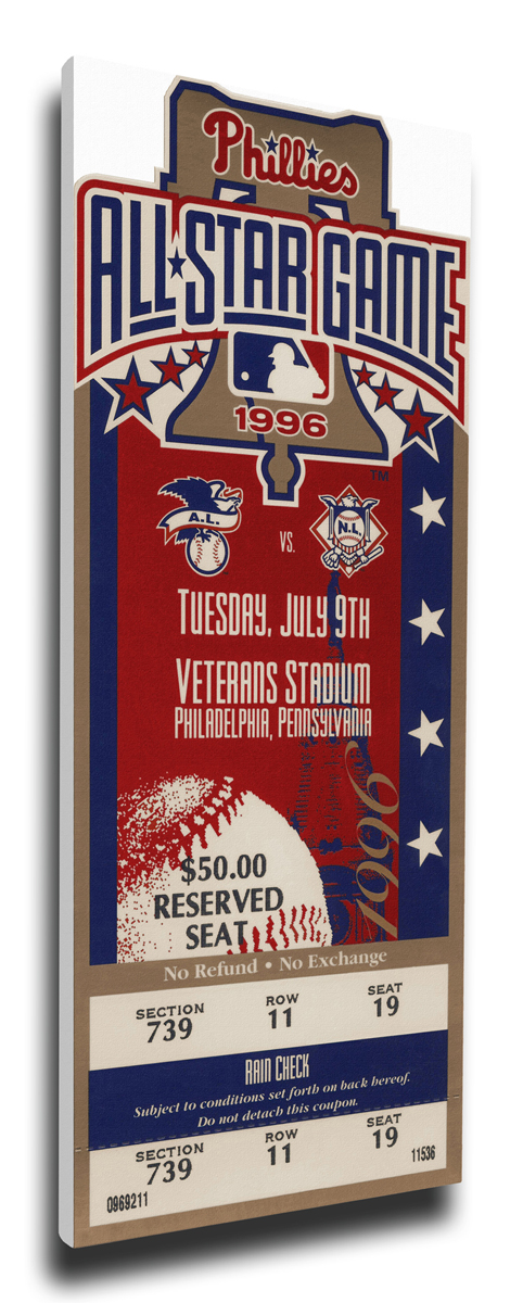 1996 MLB All-Star Game Canvas Mega Ticket, Phillies Host - MVP Mike Piazza,  Dodgers