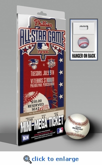 1996 MLB All-Star Game Mini-Mega Ticket, Phillies Host - MVP Mike Piazza, Dodgers