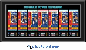1997 World Series Tickets to History Framed Print - Florida Marlins