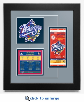 1998 World Series Replica Ticket & Patch Frame - New York Yankees