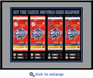 1998 World Series Tickets to History Framed Print - New York Yankees