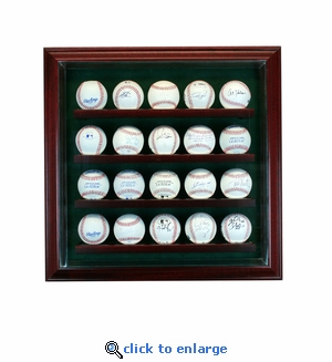 20 Baseball Cabinet Style Display Case - Cherry