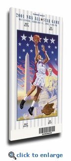 2001 NBA All-Star Game Canvas Mega Ticket, Wizards Host - MVP Alan Iverson, 76ers