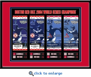 2004 World Series Tickets to History Framed Print - Boston Red Sox