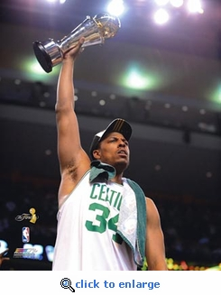 2008 NBA Finals Boston Celtics Pierce Raises MVP Trophy 8x10 Photo