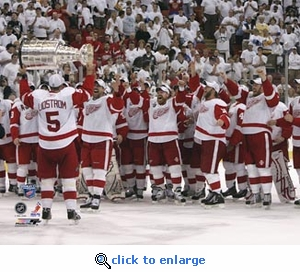 2008 NHL Stanley Cup Detroit Red Wings Celebration and Lidstrom with the Cup, Game 6 8x10 Photo