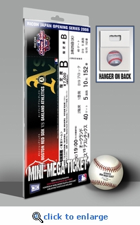 2008 Opening Day Japan Mini-Mega Ticket - Boston Red Sox vs Oakland A's