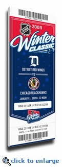 2009 NHL Winter Classic Commemorative Canvas Mega Ticket - Red Wings vs Blackhawks
