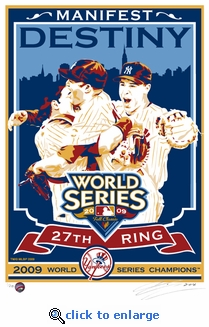 2009 World Series Champions Sports Propaganda Handmade LE Serigraph - New York Yankees