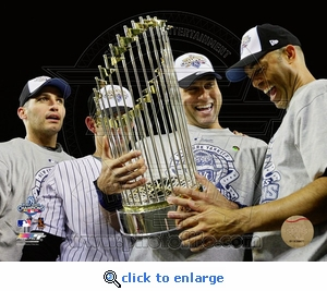 2009 World Series: Core Four with Trophy 8x10 Photo - New York Yankees