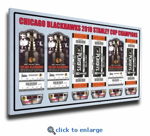 2010 NHL Stanley Cup Champions Tickets to History Canvas Print - Chicago Blackhawks