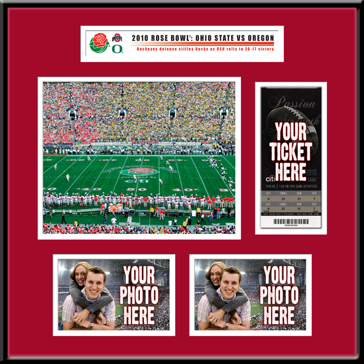 2010 Rose Bowl Ticket Frame Ohio State Vs Oregon