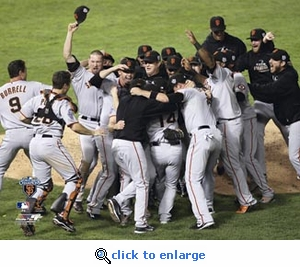 2010 World Series Game 5 Team Celebration 8x10 Photo